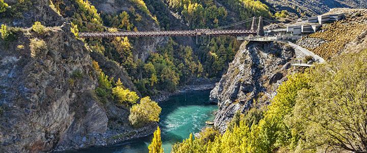 Kawarau River Bridge, fietsvakantie Nieuw-Zeeland