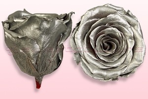 Product box rose amor  preserved roses  metallic silver