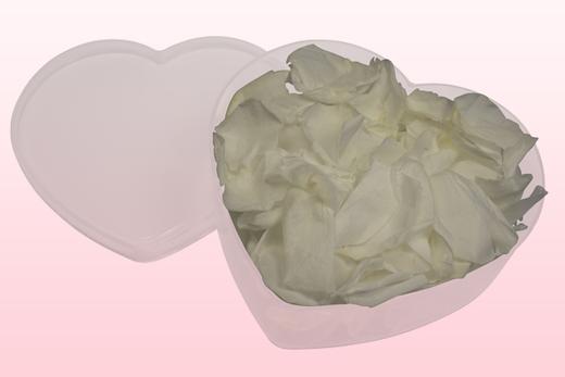 Herzförmige Durchsichtige Verpackung mit Weiße Rosenblätter