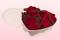 scatoletta a forma di cuore con petali di rosa stabilizzata di colore rosso scuro.