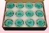 12 Geconserveerde Rozenkoppen, Turquoise, Maat M