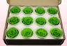 12 Preserved Rose heads, Light Green, Size M