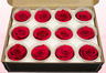 12 Preserved Rose Heads, Cranberry, Size M