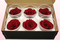 6 Preserved Rose Heads, Dark Red, Size L
