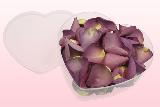 Heart Shaped Box With Mauve Coloured Freeze Dried Rose Petals