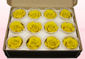 12 Preserved Rose Heads, Yellow, Size M