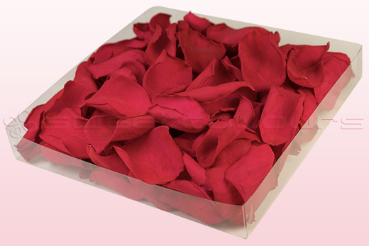 1 litre box with cranberry coloured preserved rose petals