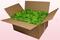 Caja de 24 litros con pétalos de rosa preservados de color verde claro