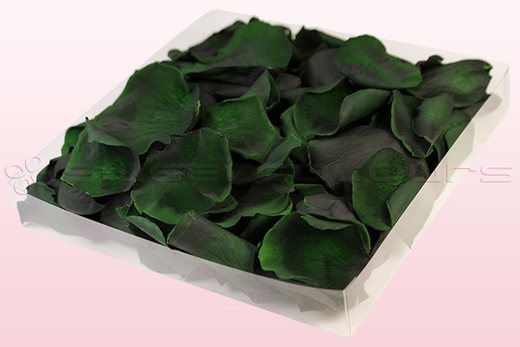 1 Liter Verpackung mit konservierten Rosenblättern in der Farbe Dunkelgrün