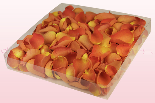 1 litre box with dark orange freeze dried rose petals