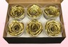 6 Preserved Rose Heads, Metallic Gold, Size XL