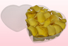 Heart Shaped Box With Light Yellow Freeze Dried Rose Petals