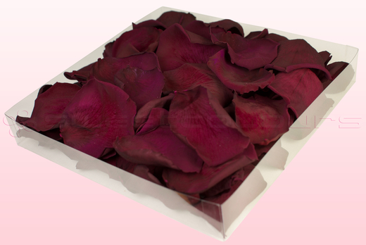 1 litre box with Wine coloured freeze dried rose petals