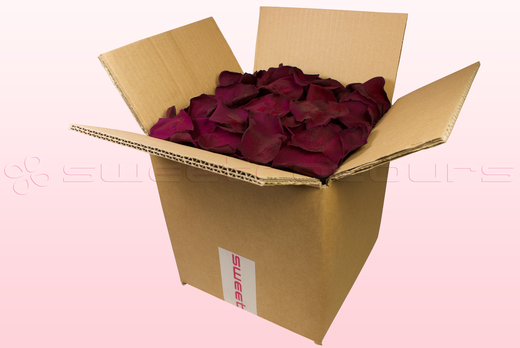 8 litre box with Wine coloured preserved rose petals
