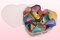 Heart Shaped Box With Freeze Dried Rainbow Coloured Rose Petals