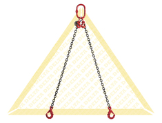 GRADE 80 2 - LEG CHAIN SLINGS WITH SELF-LOCKING CLEVIS HOOK AND EYE GRAB HOOK
