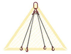 GRADE 80 4 - LEG CHAIN SLINGS WITH CLEVIS HOOK AND EYE GRAB HOOK