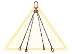 GRADE 80 4 - LEG CHAIN SLINGS WITH SELF-LOCKING CLEVIS HOOK