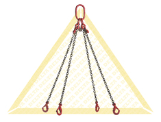 GRADE 80 4- LEG CHAIN SLINGS WITH SELF-LOCKING CLEVIS HOOK AND EYE GRAB HOOK