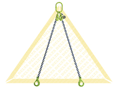 GRADE 100 2 - LEG CHAIN SLINGS WITH SELF-LOCKING CLEVIS HOOK AND EYE GRAB HOOK