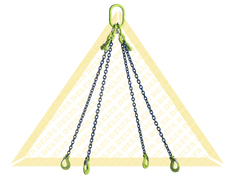 GRADE 100 4 - LEG CHAIN SLINGS WITH CLEVIS HOOK AND EYE GRAB HOOK