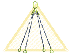 GRADE 100 4- LEG CHAIN SLINGS WITH SELF-LOCKING CLEVIS HOOK AND EYE GRAB HOOK